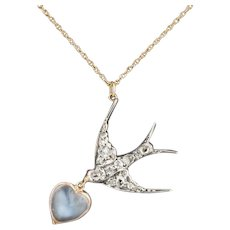 Diamond & Moonstone Swallow Necklace | Pin Conversion Necklace | Silver topped 14k Gold Pendant on 14k Chain | Diamond Bird Necklace