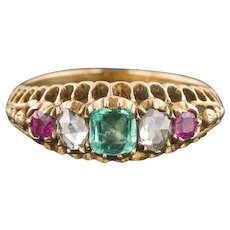 Antique Ruby Diamond & Emerald Ring | Antique 14k Gold Ring | Tri-Color Ring | Victorian Ring | Antique Ring | 14k Gold Ring