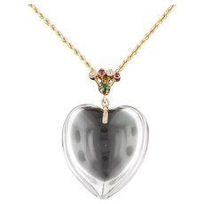 Rock Crystal & Gemstone Heart Pendant | 14k Gold Pendant with 14k Gold Chain | Heart Pendant | Love Token Necklace
