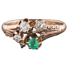 Antique Emerald & Diamond Ring | Antique 10k Gold Emerald Diamond Ring | Victorian Ring | Antique Ring