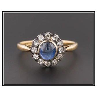 Antique Natural Sapphire & Diamond Halo Ring | 18k Gold Sapphire Ring | Sapphire Halo Ring | Sapphire Engagement Ring