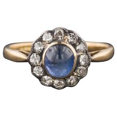 Antique Natural Sapphire & Diamond Halo Ring | 18k Gold Sapphire Ring | Sapphire Halo Ring | Sapphire Engagement Ring