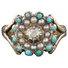 Antique Turquoise Pearl & Diamond Ring | 18k Turquoise Ring | Late Georgian or Early Victorian Ring | Antique Diamond Ring