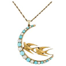14k Gold Bird Necklace | Antique Pin Conversion | 14k Gold Pendant with 9ct Gold Chain | Crescent Moon Necklace