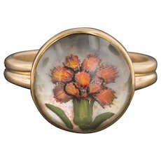 Essex Crystal Flower Ring | Pin Conversion Ring | Reverse Painted Crystal Ring | 14k Gold Cactus Flower Ring