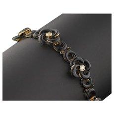 14k Gold Black Enamel Love Knot Bracelet | Antique Love Knot Bracelet | Antique Black Enamel & Diamond Bracelet