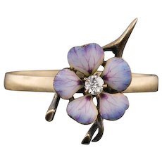 Enamel Flower and Wishbone Ring | Stick Pin Ring | 10k Gold Ring | 10k Gold Flower Ring | Diamond Flower Ring | Purple Flower