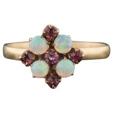 10k Gold Opal & Garnet Ring | Stick Pin Conversion Ring | Opal Ring | 10k Gold Ring | Garnet Ring