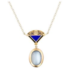 Arts & Crafts Necklace   Moonstone and Lapis Lazuli Necklace   14k Gold Necklace   Antique Moonstone Necklace  