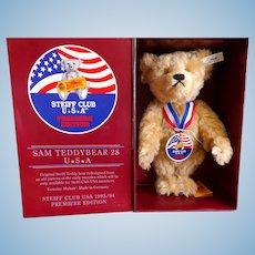 MIB Steiff Club USA Premiere Edition Sam Teddybear 28 with Tags