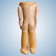 Antique Leather Doll Body with Grommetted Hips and Knees, Bisque Arms