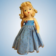 Vintage Blonde Terri Lee Doll in Blue Sequinned Ballgown