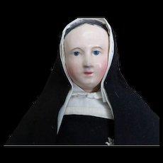 19thc Antique Paper Mache Doll Dressed as Nun in Elaborate Original Clothes