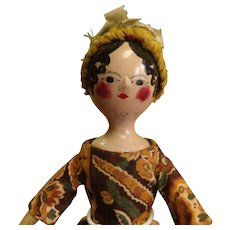 Antique Directoire Era French Wooden Doll all Original Unusual Size