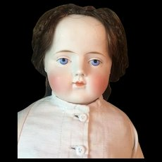 Antique German Parian Girl Doll with Unusual Solid Dome and Human Hair Wig