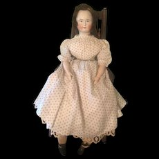 Antique Biedermeier China Doll with Wig