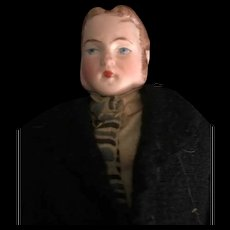 Unusual Bisque Head Male Dollhouse Doll with Molded Hair and Sideburns