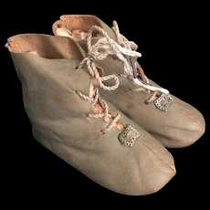 Pair of Antique Laced Doll Shoes Marked 0