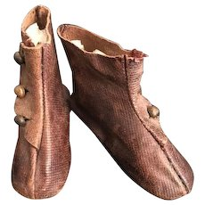 Antique Heeled Leather French Fashion Doll Type Shoes