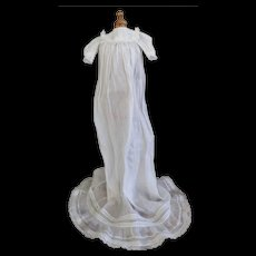Antique White Cotton and Lace Doll Sized Christening Dress