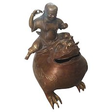 Antique Chinese Figural Incense Burner Boy Astride Lucky Toad