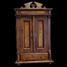 Antique Wooden Doll Sized Wardrobe Cabinet Suitable for Display with French Fashion and Bebe Dolls