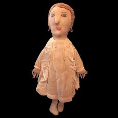 Vintage Handsewn Cloth Doll with Embroidered Features All Original