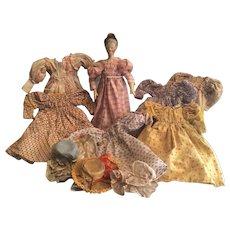 SALE Antique German Wooden Grodnertahl  Doll with Wardrobe