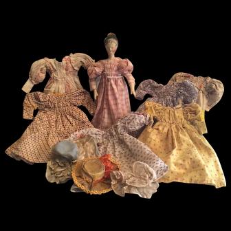 Antique German Wooden Grodnertahl  Doll with Wardrobe