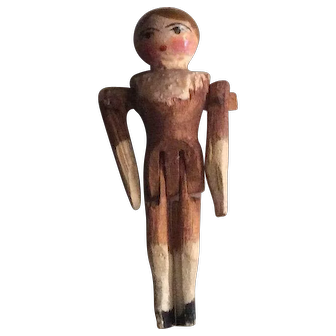 Miniature German Antique Peg Wooden Doll with Brown Hair