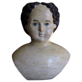 Antique Paper Mache Greiner Doll Head in Dramatic Size with Label