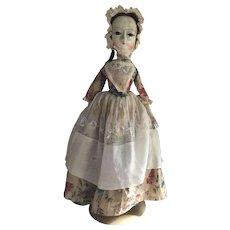 SALE Antique Early 18thc English Wooden Doll Enamel Eyes