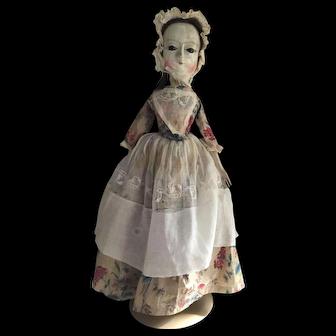 Antique Early 18thc English Wooden Doll Enamel Eyes