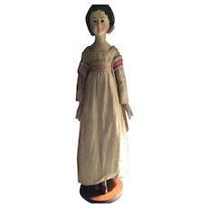 SALE Antique Early 19thc German Wooden Grodnertal Doll in Dramatic Size