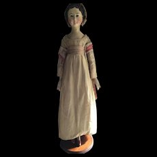 Antique Early 19thc German Wooden Grodnertal Doll in Dramatic Size