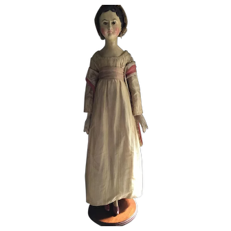 Antique Early 19thc German Wooden Oberammergau Doll in Dramatic Size