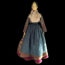 Antique German Wood 19thc Doll with Leather Body