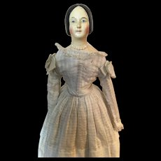 Antique Early 19thc German Paper Mache Doll with Milliner's Body