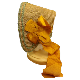Reproduction Woven Early 19thc Style Bonnet for Paper Mache or Wooden Doll