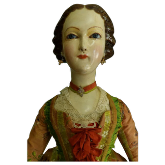 Antique 18thc Wooden Lady Doll with Glass Eyes and Carved Hair Probably Creche