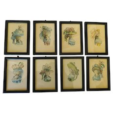 Set of 8 Vintage Original Sidney Z Lucas Paris Etching Society Color Fashion Etchings