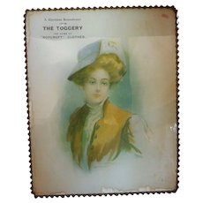 Vintage Fashion Lady Reverse Mounted Under Glass Roycroft Clothing Sign Chrstmas