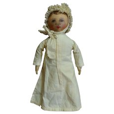 Unusual Antique Handpainted Cloth Columbian Doll Dressed as Baby