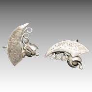 Silver earrings Hand Wrought Metal OOAK