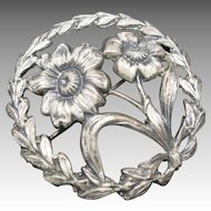 Flower Pin Sterling Silver Vintage Wreath