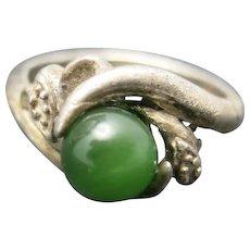Jade ring Sterling silver ring Green jade bead