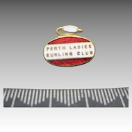 Curling stone PIN RED white enamel Perth Ladies