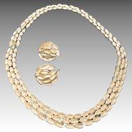 Trifari necklace Yellow gold tone Earrings Match