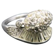 Rhinestone Cocktail ring Sterling silver