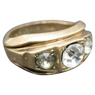 Three stone RING Uncas Yellow GOLD Filled